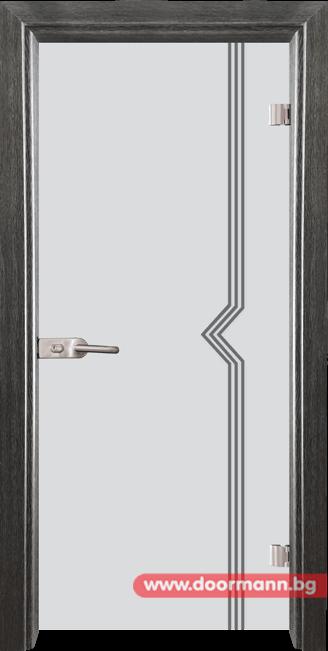 Стъклена врата модел Gravur 13-3 - Сив кестен